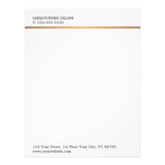 Modern Elegant Plain White Faux Copper Line Letterhead