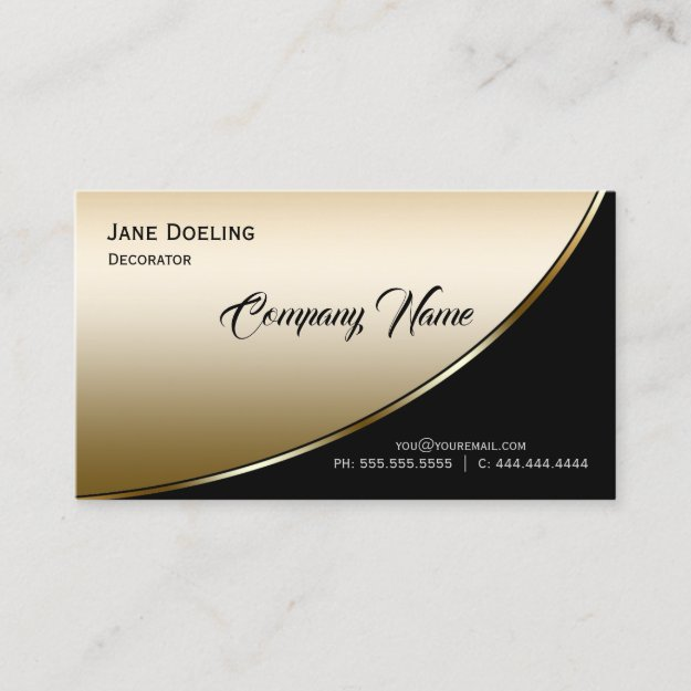 Modern Elegant Professional Highlight Black Gold Business Card