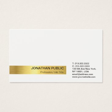 Lawyer Themed Modern Elegant Professional White Gold Plain Business Card