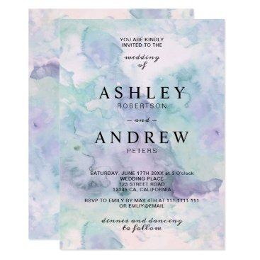 Wedding Themed Modern elegant purple watercolor wedding card
