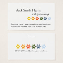 Modern Elegant Rainbow Pets Animal Paws Business Card
