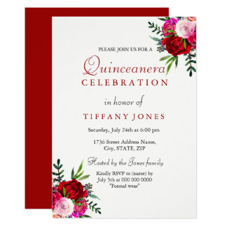 Red Rose Quinceanera Invitations Announcements Zazzle