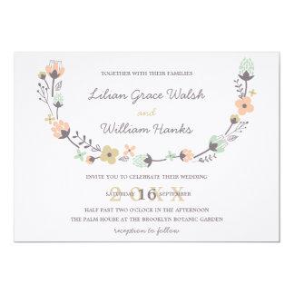 Modern Elegant Retro Floral Wreath Wedding 5x7 Paper Invitation Card