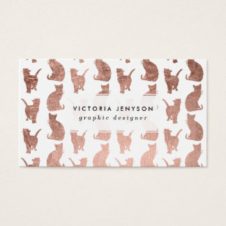 Modern elegant rose gold cats pattern custom business card