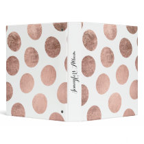 Modern elegant rose gold hand drawn big polka dots binder
