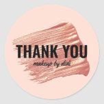 Modern elegant rose gold lipstick makeup thank you classic round sticker