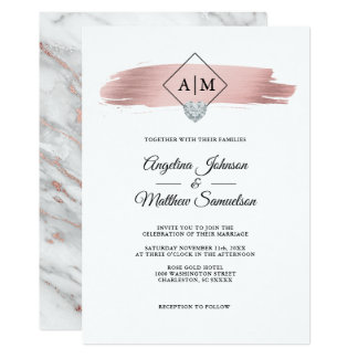 Modern Elegant Rose Gold Marble Heart Wedding Invitation
