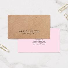 Modern Elegant Rose Printed Kraft Paper Consultant Business Card at Zazzle