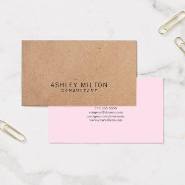 pro_business_card Modern Elegant Rose PRINTED Kraft Paper Consultant Business Card