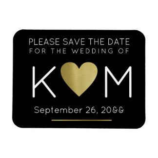 modern & elegant save the date love-heart black magnet