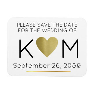 modern & elegant save the date love-heart magnet