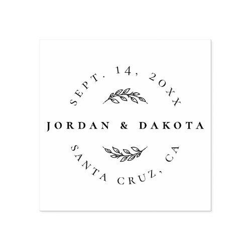 Modern Elegant Save The Date  Wedding Location Rubber Stamp