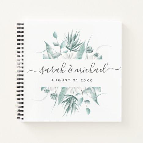 Modern Elegant Script Greenery Wedding Guest Notebook