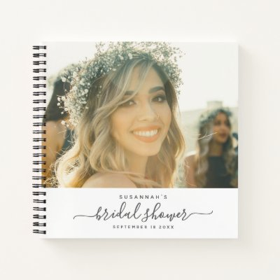 Modern Elegant Script Photo Bridal Shower Guest Notebook