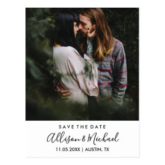 Modern Elegant Script Wedding Save The Date Photo Postcard