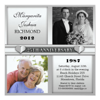 modern elegant silver 25 anniversary invitations