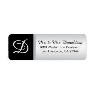 Modern Elegant Silver Black Monogram Initials Label