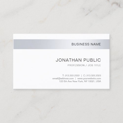 Modern Elegant Silver Simple Template Corporate Business Card