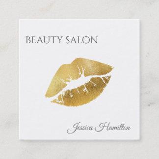 Modern elegant  simple gold lips square business card