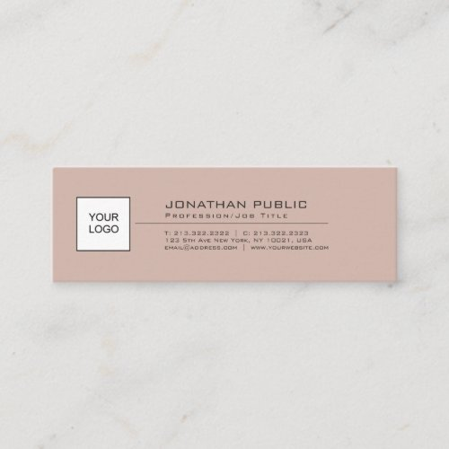 Modern Elegant Simple Plain With Logo Mini Business Card