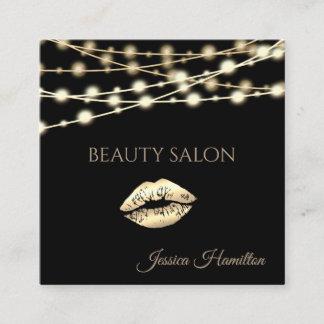 Modern elegant  simple sting lights gold lips square business card