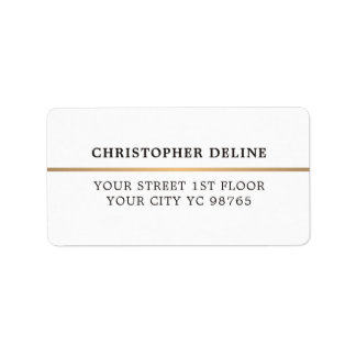 Modern Elegant Simple White Faux Copper Line Label