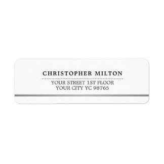 Modern Elegant Simple White Faux Silver Line Label