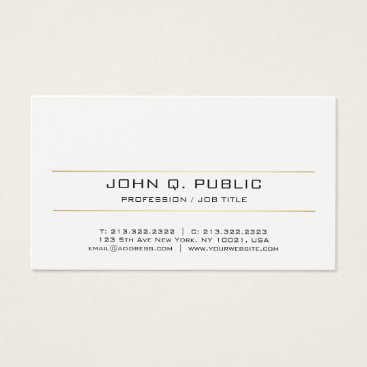 Lawyer Themed Modern Elegant Sleek Plain Gold Striped White Business Card