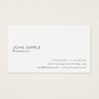 Modern Elegant Sleek Plain Professional White Business Card