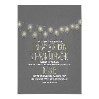 Modern Elegant String Lights Wedding Invitation