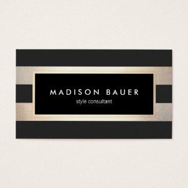 Modern Elegant Striped Black and FAUX Gold Foil 2 Business Card
