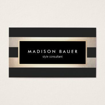 sm_business_cards Modern Elegant Striped Black and FAUX Gold Foil 2 Business Card
