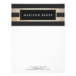 Modern Elegant Striped Black and FAUX Gold Foil Letterhead
