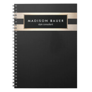 Modern Elegant Striped Black and FAUX Gold Foil Notebook