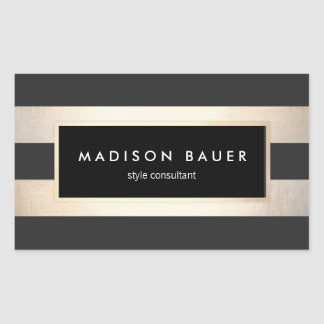Modern Elegant Striped Black and FAUX Gold Foil Rectangular Sticker