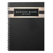 Modern Elegant Striped Black and FAUX Gold Foil Spiral Notebook