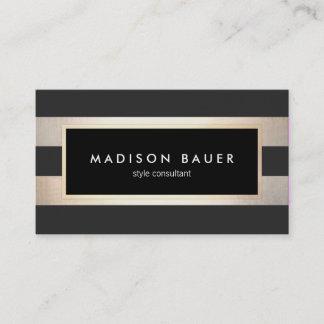 Modern Elegant Striped Trendy Black Gold Foil Business Card