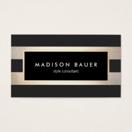 Modern Elegant Striped Trendy Black Gold Foil Business Card