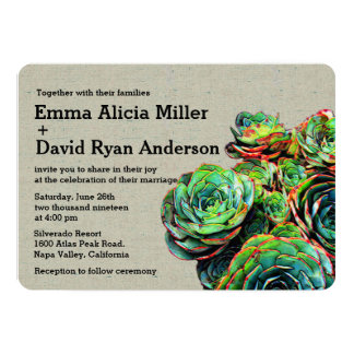 Modern Elegant Succulents Burlap Wedding Invite