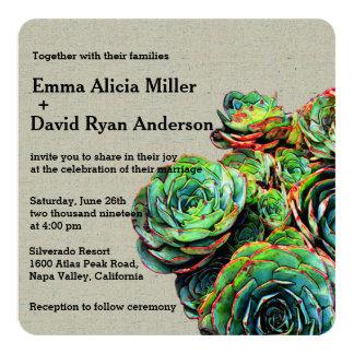 Modern Elegant Succulents Burlap Wedding Invites