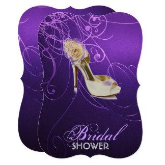 modern elegant swirls vintage purple bridal shower card