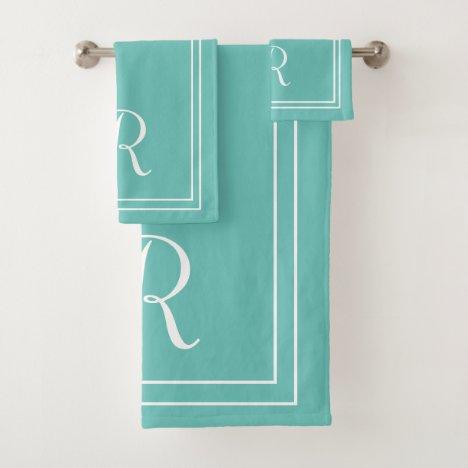 Modern Elegant Teal & White Monogram Bath Towel Set