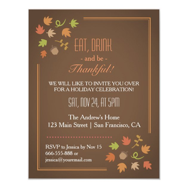 Modern Elegant Thanksgiving Dinner Party Card