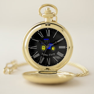 Modern Elegant Trendy Blue And Yellow Tractor Pocket Watch