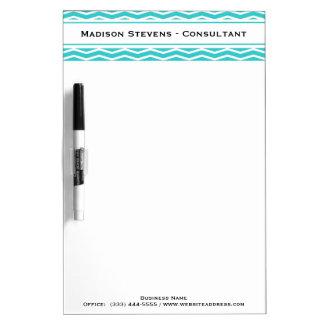 Modern Elegant Turquoise Zig Zag Dry Erase Board