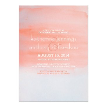 Beach Themed Modern elegant watercolor engagement party card