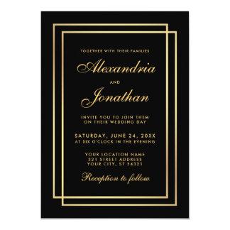 Modern Elegant Wedding Gold Black White Invitation