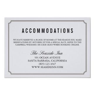 Modern Elegant Wedding Hotel Accomodation Card