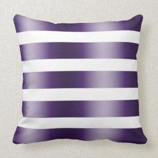 Modern Elegant White And Deep-Purple Stripes Throw Pillow