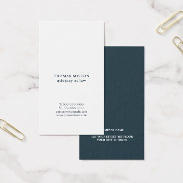 Lawyer Themed Modern Elegant White Blue Attorney Business Card